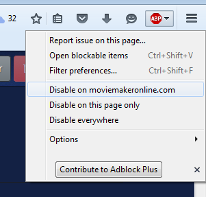Switch Adblock Plus for moviemakeronline.com in firefox