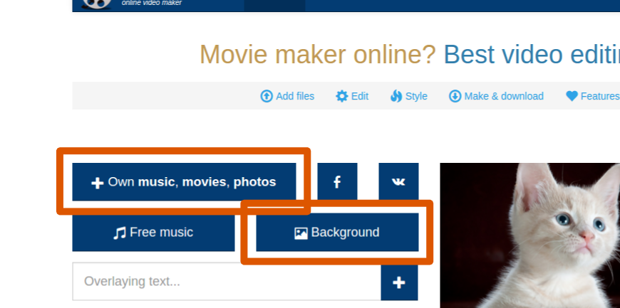 Upload photos and images buttons